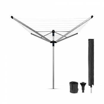 BRABANTIA - Lift-O-Matic Advance - Suszarka ogrodowa 60 m - Mocowanie do betonu, pokrowiec, pojemnik na klamerki