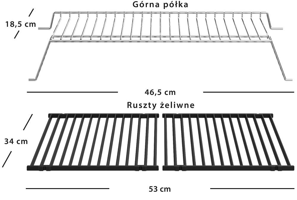 Broil King Gem 320 - Wymiary rusztów
